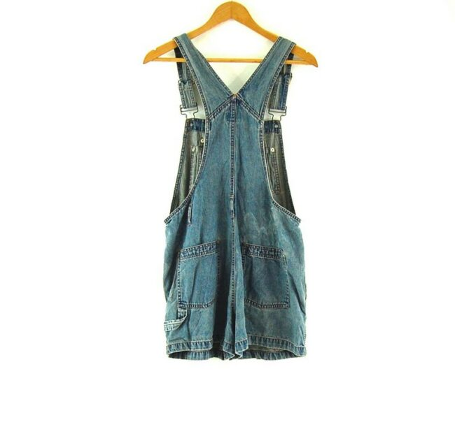 Back of Close up of Blue Embroidered Short Dungarees Womens
