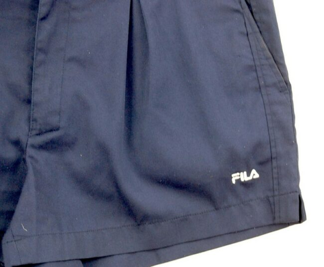 Close up of Navy Blue Fila Vintage Shorts