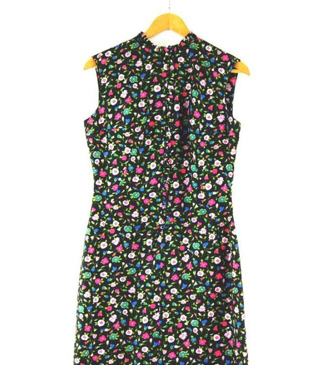 Close up Back of Black Floral Below The Knee vintage 60s dress