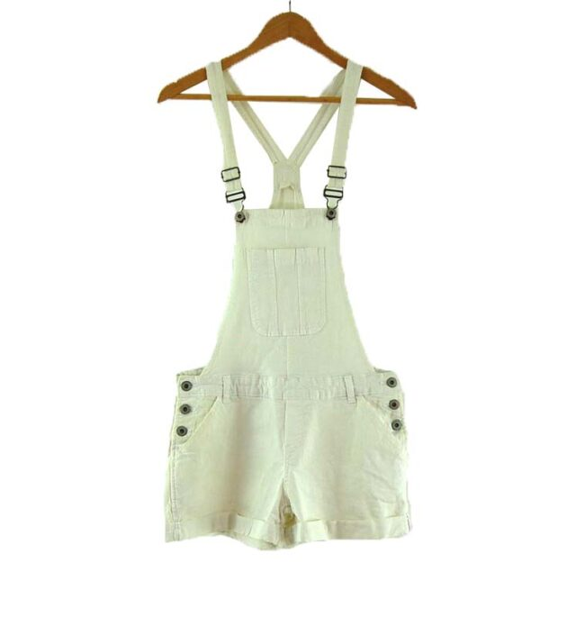 Womens white Cropped Funky Dungarees