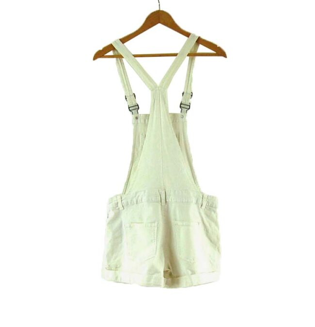 Back of Womens white Cropped Funky Dungarees