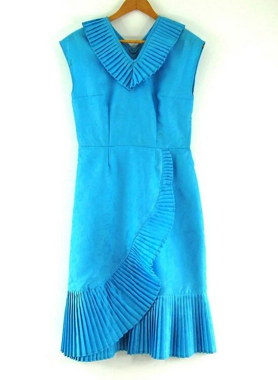 Blue 70s Dress with Pleats