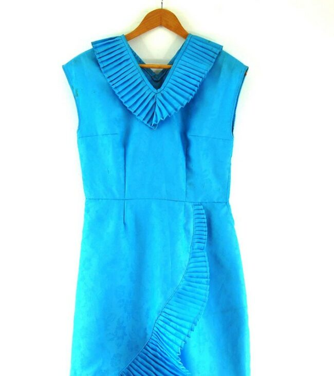 Close up of Blue 70s Dress with Pleats