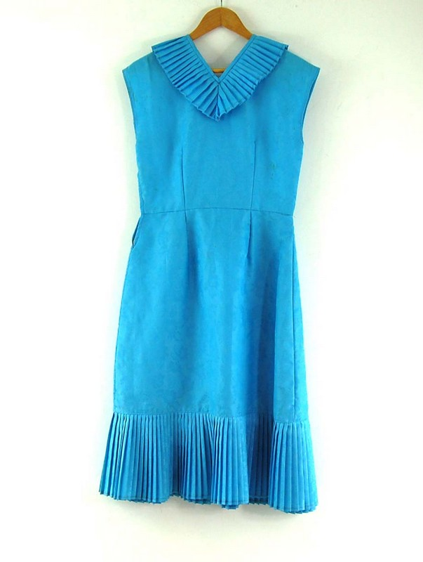 Back of Blue 70s Dress with Pleats