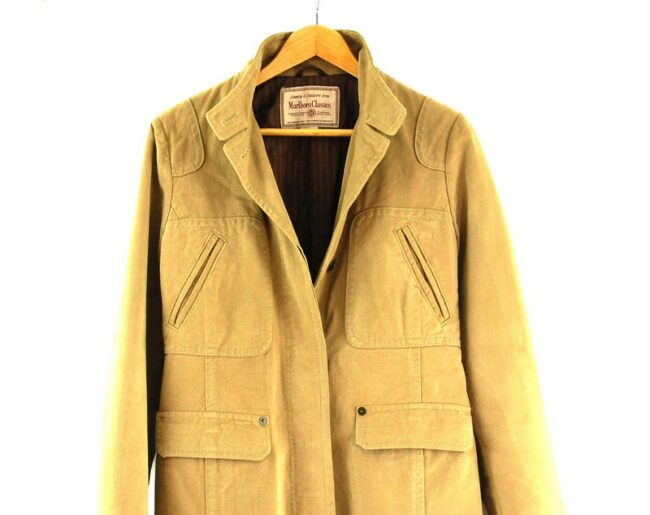 Close up of Womans Tan Marlboro Classics Coat
