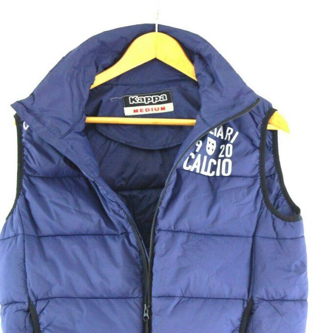 Close up of Dark Blue kappa Puffer Vest
