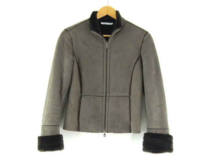 Close up of Liu Jo Faux Fur Jacket in Brown
