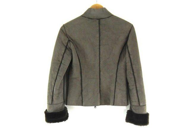 Back of Close up of Liu Jo Faux Fur Jacket in Brown