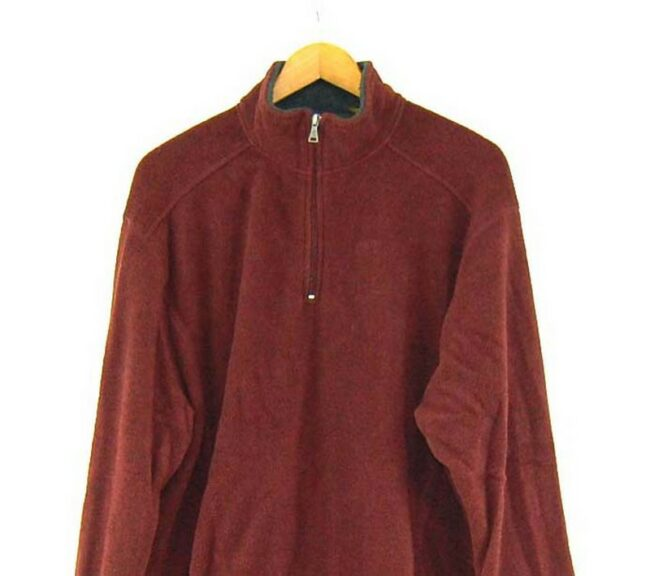 Close up of Burgundy St Johns Bay 1 4 zip fleece vintage