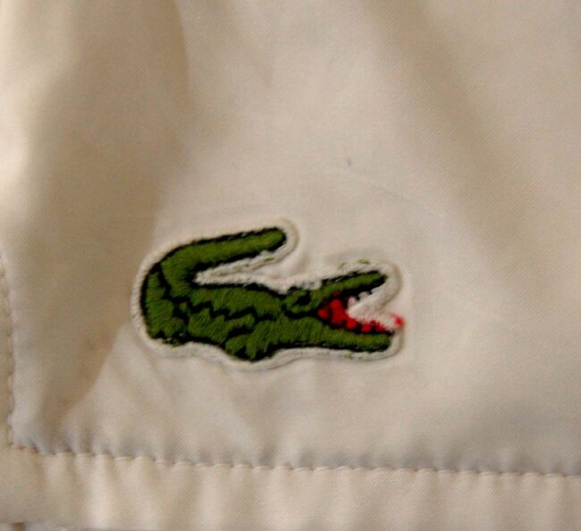 Close up of White Lacoste Shorts