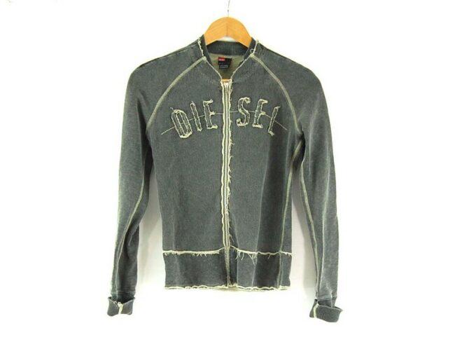 Ladies Zip Up DIESEL Grey Sweatshirt