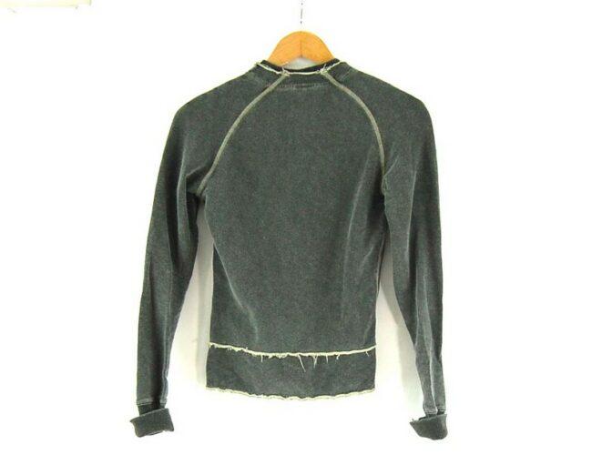 Back of Ladies Zip Up DIESEL Grey Sweatshirt