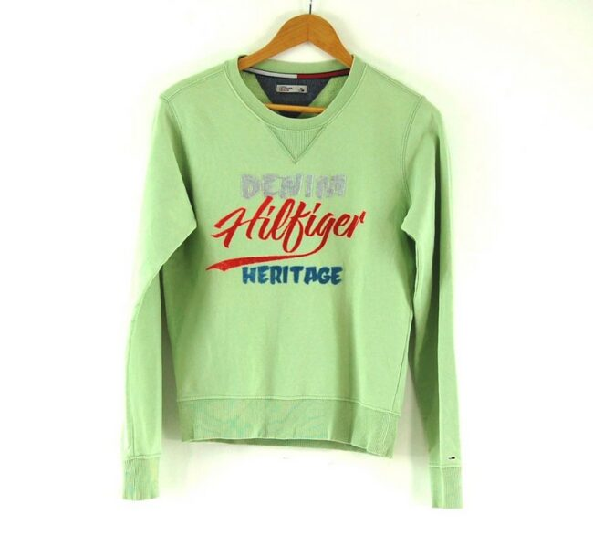 Ladies Green Crew Neck Tommy Hilfiger Denim Sweatshirt