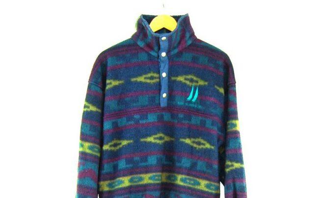 Close up of Aztec Print Colourful Fleece