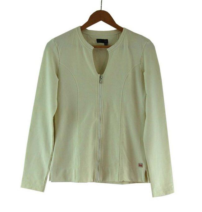Ladies White Cotton Zip Up Gas Sweatshirt