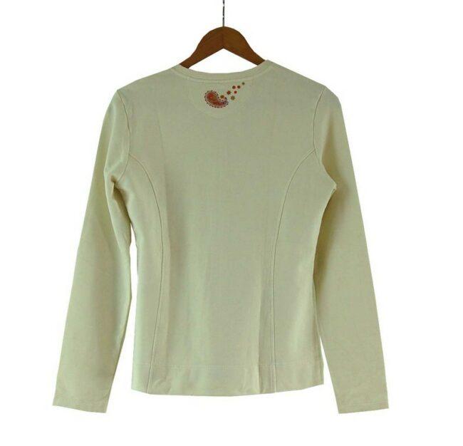 Back of Ladies White Cotton Zip Up Gas Sweatshirt