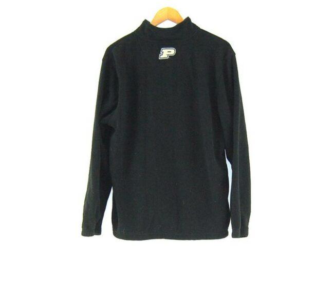 Back of Black Purdue Zip Up Fleece Jacket