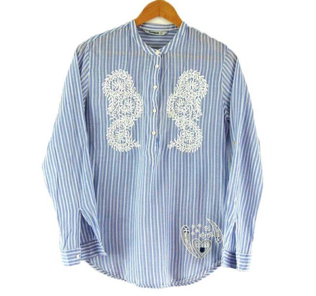 Blue Ladies Grandfather Shirt