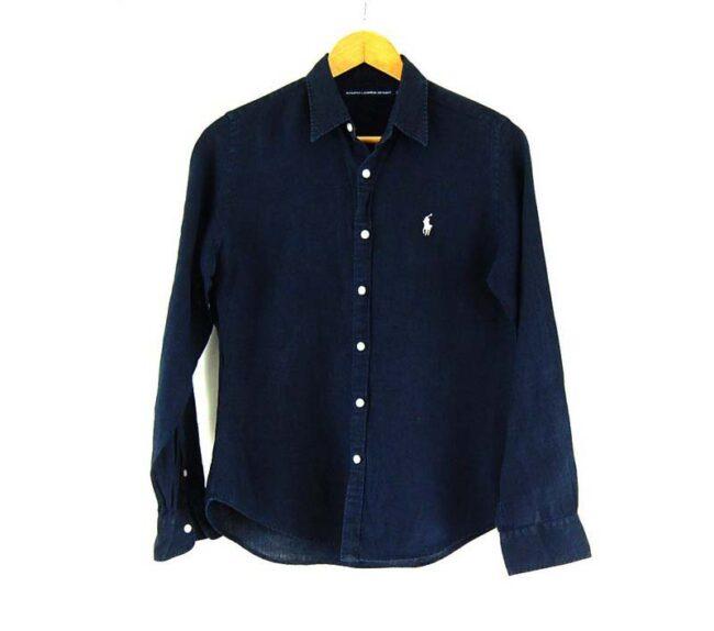 Ladies Linen Navy Blue Ralph Lauren Shirt