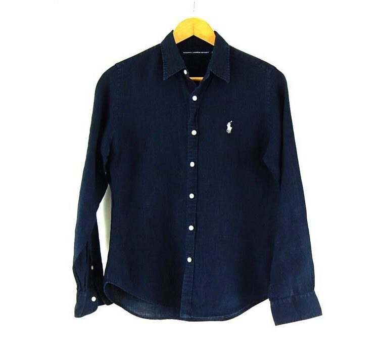 Ladies Linen Navy Blue Ralph Lauren Shirt