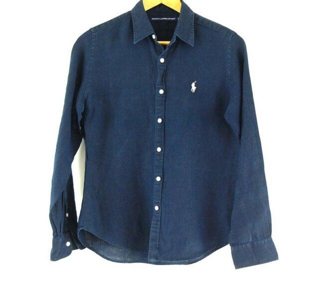 Close up of Ladies Linen Navy Blue Ralph Lauren Shirt
