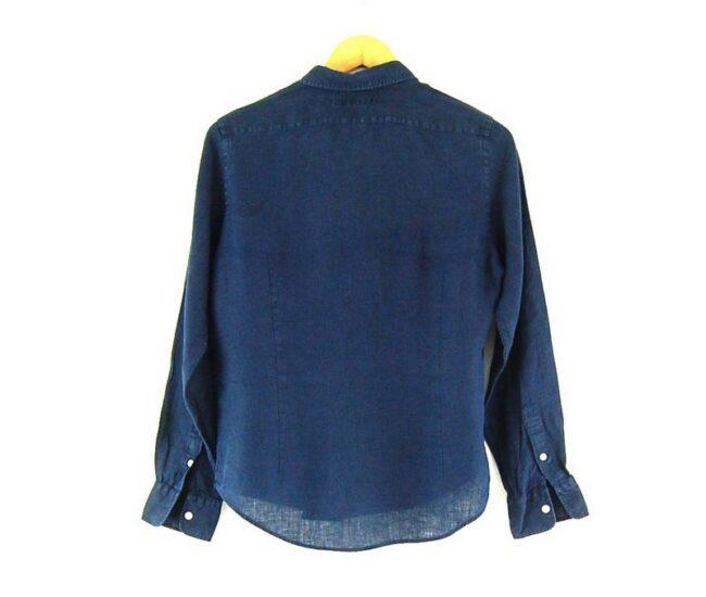 Back of Ladies Linen Navy Blue Ralph Lauren Shirt