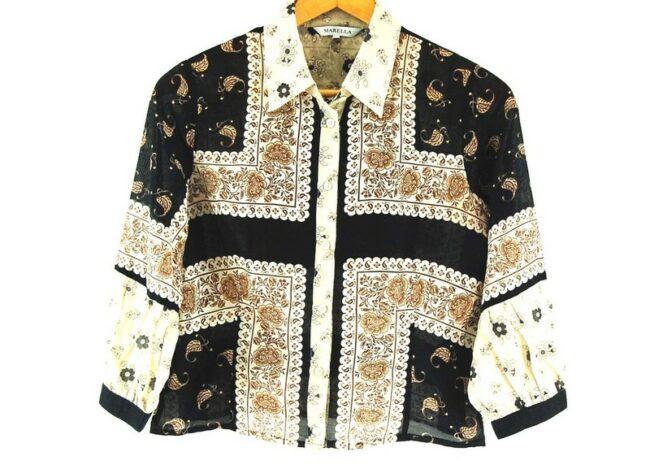 Close up of Ladies Marella Floral Print Cotton Silk Shirt