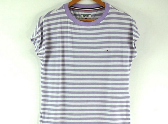 Close up of Ladies Striped Tommy Hilfiger Tee