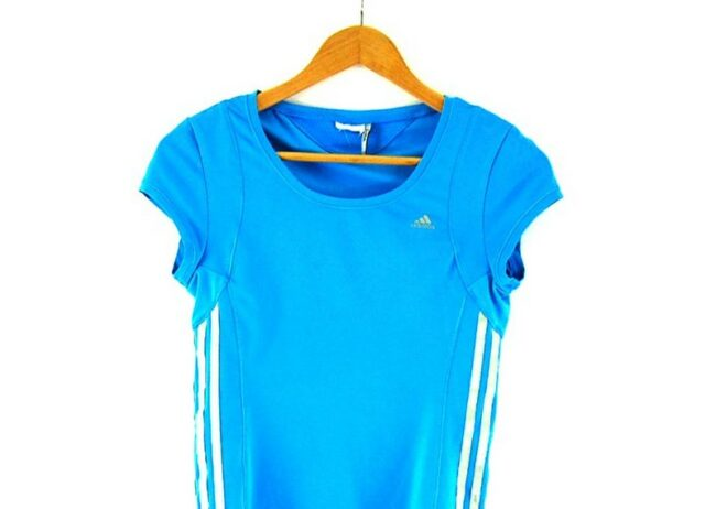 Close up of Ladies Blue Climacool Adidas Top