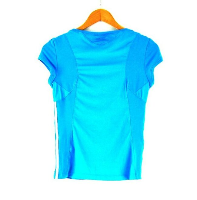 Back of Ladies Blue Climacool Adidas Top