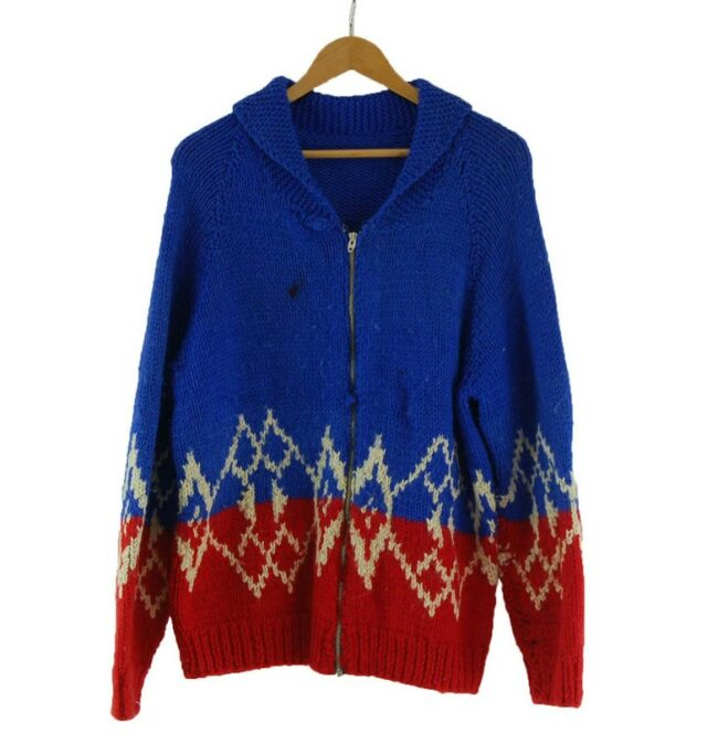Cowichan Sweater Blue and Red