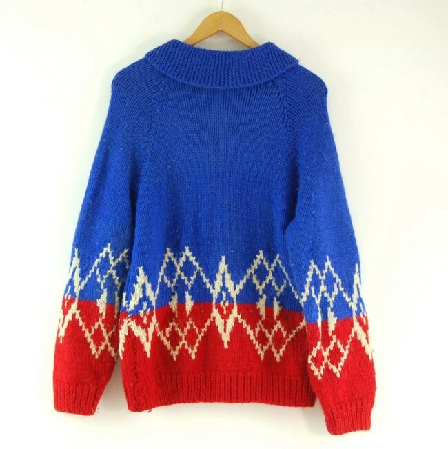 Back of Cowichan Sweater Blue and Red