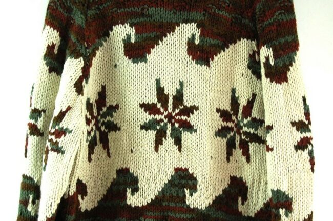 Back close up of 70s Snowflake Cowichan Sweater