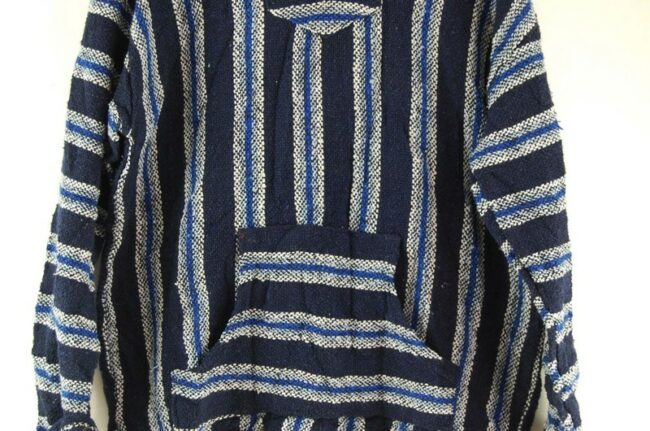 Close up of Blue And White Baja Hoodie