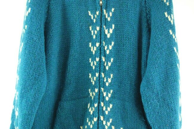 Front close up of Blue Cowichan Sweater