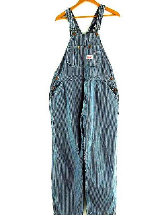 Round House Striped Denim Dungarees