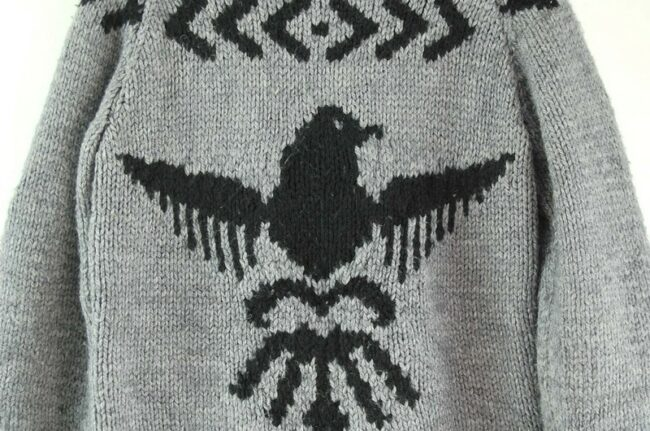 Back close up of 80s Arrow Print Cowichan Sweater