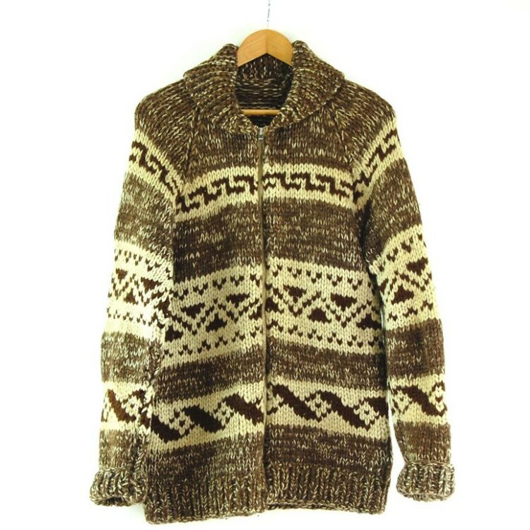 80s Brown and Cream Cowichan Sweater