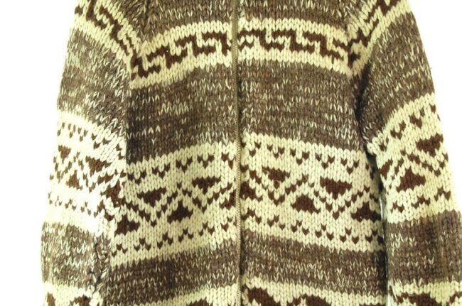 Close up of 80s Brown and Cream Cowichan Sweater