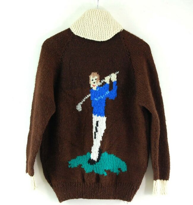 Back of Cowichan Sweater Golf Themed