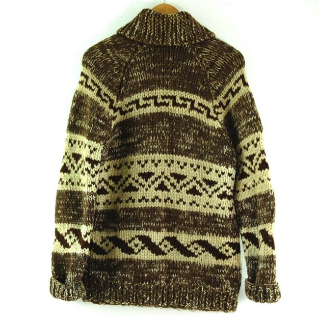 Back of 80s Brown and Cream Cowichan Sweater