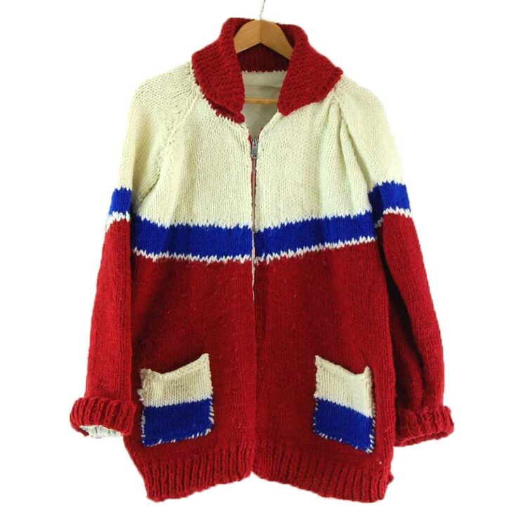 White, Blue and Red Cowichan Sweater