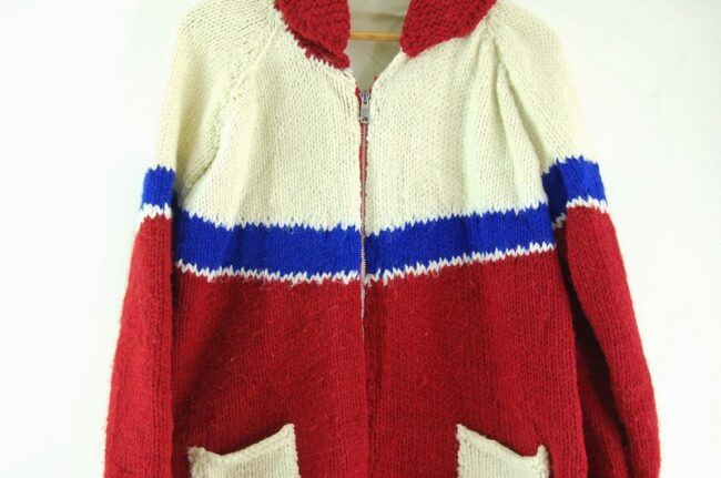 Close up of White, Blue and Red Cowichan Sweater