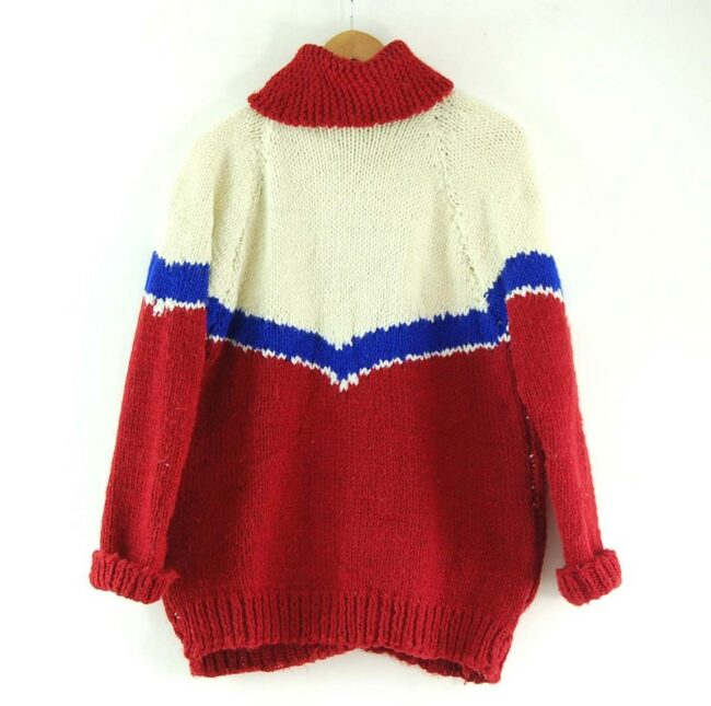 Back of White, Blue and Red Cowichan Sweater