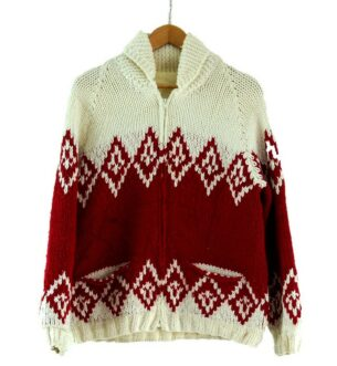 80s Red and White Cowichan Sweater