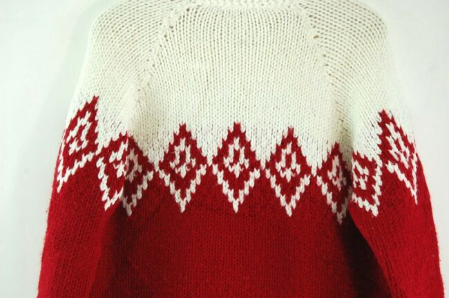 Back close up of 80s Red and White Cowichan Sweater
