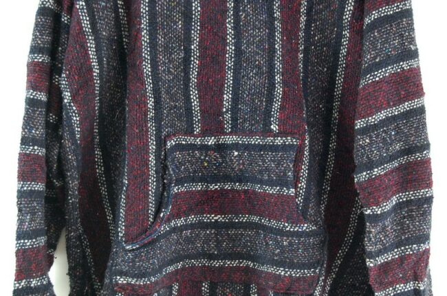 Close up of Multicolored Striped Baja Hoodie