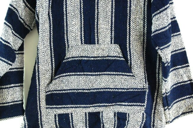 Close up of White And Blue Baja Hoodie