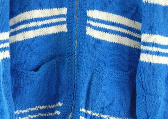 Front close up of 70s Striped Cowichan Sweater