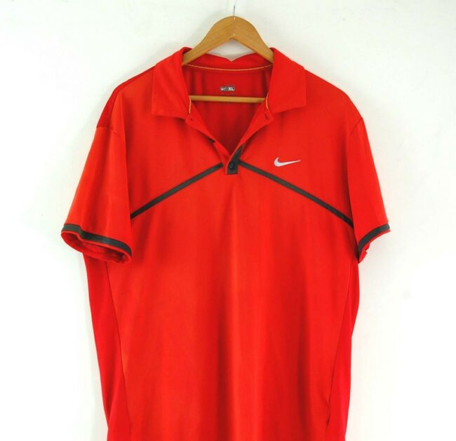 Close up of Mens Nike Red Polo Top